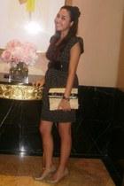 black dress - neutral Zara bag - black Forever 21 accessories