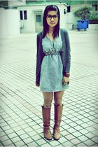brown boots - denim dress - grey blazer