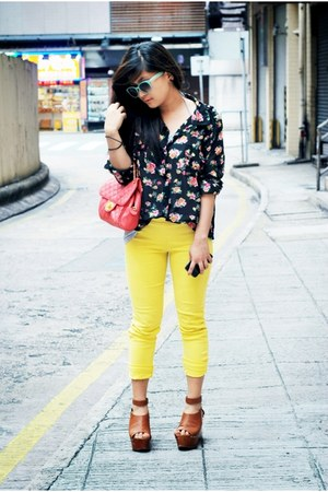 floral print cotton on shirt - pink pull&bear bag - teal cotton on sunglasses