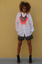 DIY necklace - ami clubwear boots - thrifted shirt - Nasty Gal shorts