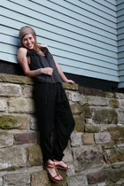 tan Zara scarf - black harem modcloth pants - heather gray Anthropologie top - h