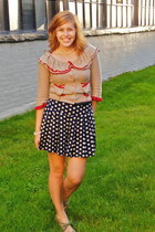 tan tulip pockets modcloth cardigan - navy polka dotted Forever 21 shorts