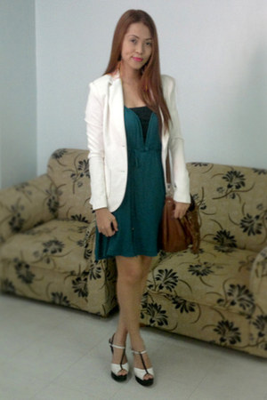 teal jersey flowy People are People dress - white alexane blazer