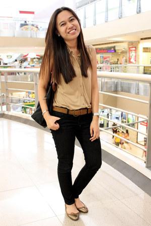 Forever 21 jeans - longchamp bag - sm dept store belt - Topshop flats