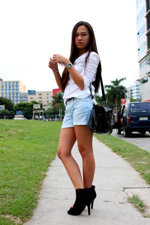 Payless boots - Mango shirt - Shop  ME bag - Mango shorts - sm dept store belt