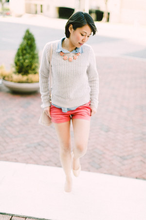 Loft sweater - chambray Old Navy shirt - alma bb Louis Vuitton bag - Loft shorts
