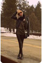 black Forever 21 pants - gold BDG shirt - black thrifted forever 21 jacket - bla