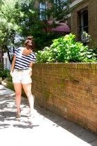 cotton Old Navy shirt - leather sperry shoes - Zara shorts - vintage belt