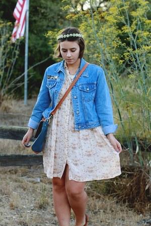 vintage dress - vintage jacket - OASAP purse - DIY hair accessory