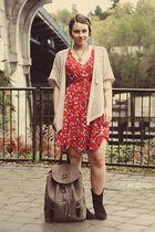 DSW boots - thrifted dress - Yes Walker bag
