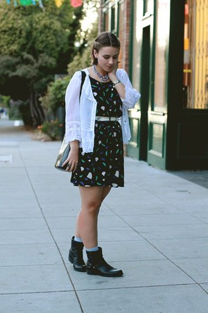 vintage purse - Ross boots - Urban Outfitters dress - vintage blouse