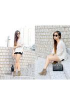 camel rubi boots - ivory knit H&M sweater - black Mango bag