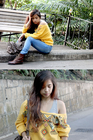 mustard Forever21 sweater - dark brown H&M boots - blue cotton on jeans