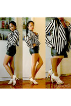 black H&M blazer - H&M top - black H&M shorts - white lolas shoes