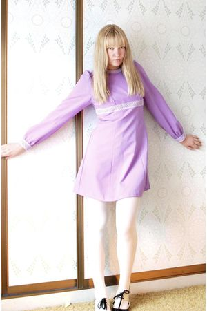 purple vintage dress - white Farmers tights