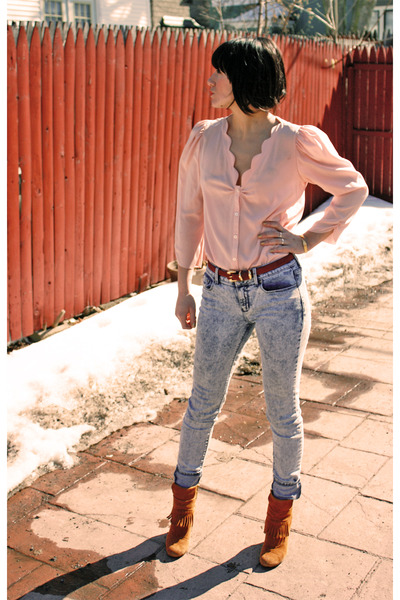 pink thrifted blouse - red thrifted belt - blue Urban Outfitters jeans - BCBG bo