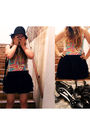 Black-vintage-skirt-white-fight-fair-band-t-t-shirt-black-silence-noise-ha