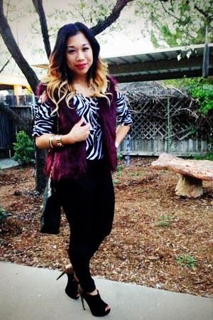 zebra print Michael Kors blouse - faux fur Express vest - Boutique 9 heels