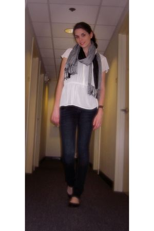 thrifted blouse - random from Barneys scarf - Zara jeans - Steve Madden shoes
