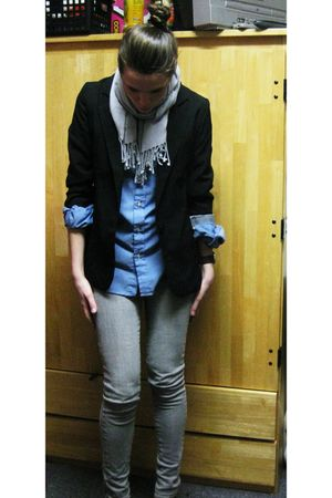 Empyre blazer - vintage blouse - BDG jeans - Target scarf