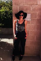 black Forever 21 hat - silver Joiee top - black US Navy pants - black Cooperativ
