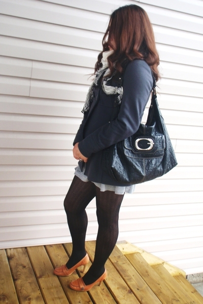 H&M scarf - Guess purse - Zara jacket - H&M dress - Aldo shoes