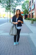 black RW&CO jacket - silver Silence  Noise shirt - blue Urban Outfitters shoes -