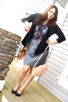 H&M sweater - Suzy Shier blouse - vintage necklace - chocolate shoes