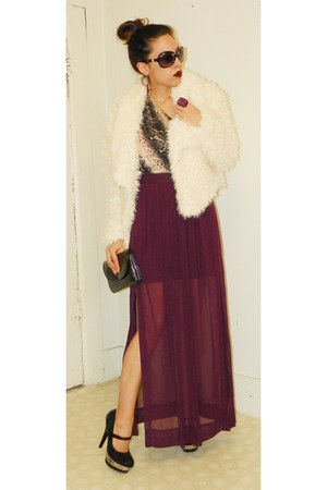 sheer Worthington skirt - fuzzy decree coat - Paprika pumps