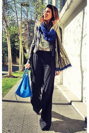 vintage scarf - classic Celine bag - rocker Zara t-shirt