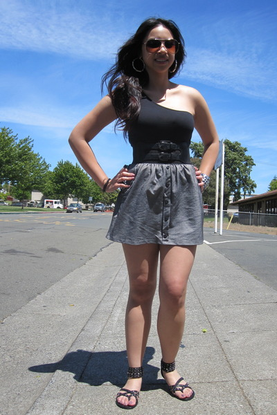 black Forever 21 shirt - black Forever 21 shoes - H&M accessories