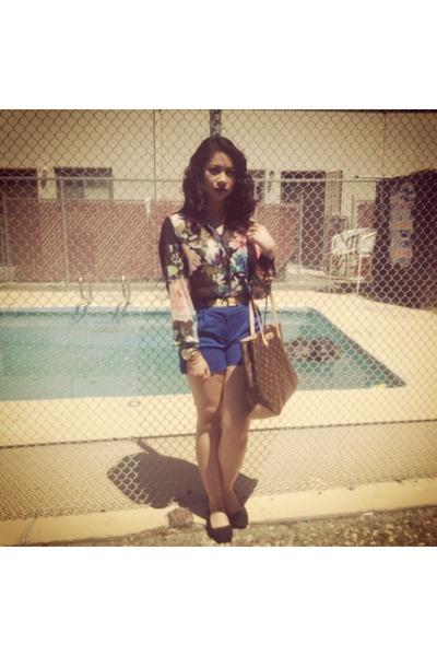 H&M shorts - Louis Vuitton bag - H&M flats - H&M blouse