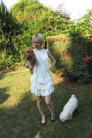 white Karen Walker dress - gold carla perretti necklace - black Melissa shoes