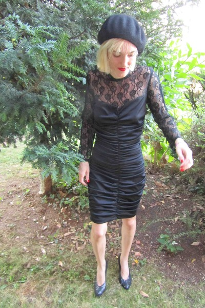 black vintage dress - black handmade hat - black vintage shoes