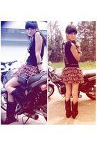 black boots - black jagermeister shirt - brown skirt - black vintage purse
