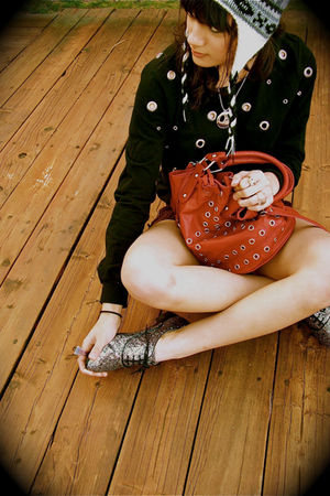 black Forever 21 sweater - red Forever 21 purse - silver Forever21 shoes