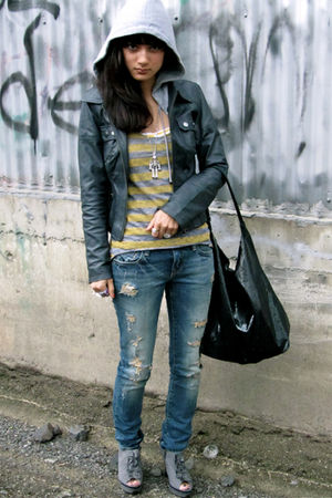 gray BB Dakota jacket - silver Charlotte Russe boots - yellow top