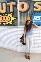 orange hat - tawny Esprit shoes - heather gray volcom jeans