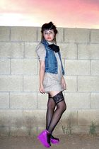 black knee high stockings - pink jelly wedge shoes - beige JC Penney