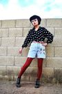 Black-forever-21-hat-blue-forenza-shorts-brown-belt-black-boots-red-nine