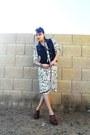 White-marbled-print-vintage-dress-tawny-wooden-heel-mia-clogs-black-denim-fa