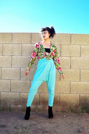 blue American Apparel pants - black bra - green thrifted vintage jacket - black 