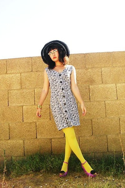 black hat - pink jelly wedge shoes - white button-up thrifted dress