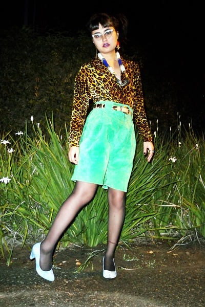 gold earrings - red earrings - green suede vintage shorts - blue