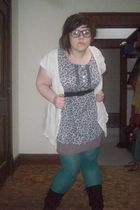 purple skirt - purple Lux top - green merona tights - black Mossimo boots - beig