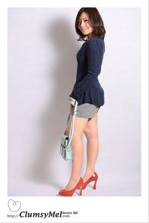 blue Miss mios closet sweater - pastel green cambridge satchel bag