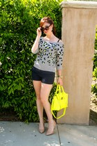 yellow Shoedazzle purse - navy Jcrew shorts - nude Jessica Simpson pumps