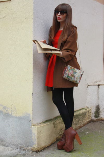 brown Jeffrey Campbell boots - ruby red Zara dress - camel Bimba & Lola bag - br