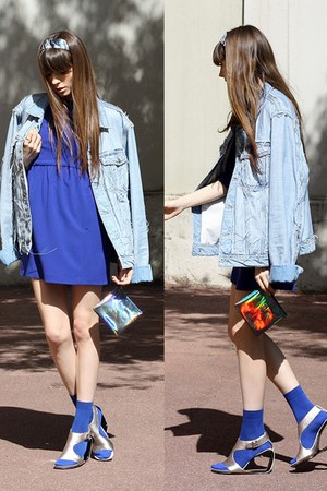 denim H&M jacket - blue Zara dress - metallic & other stories bag