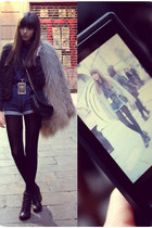 tweed Zara jacket - heels Jeffrey Campbell boots - fur Zara coat